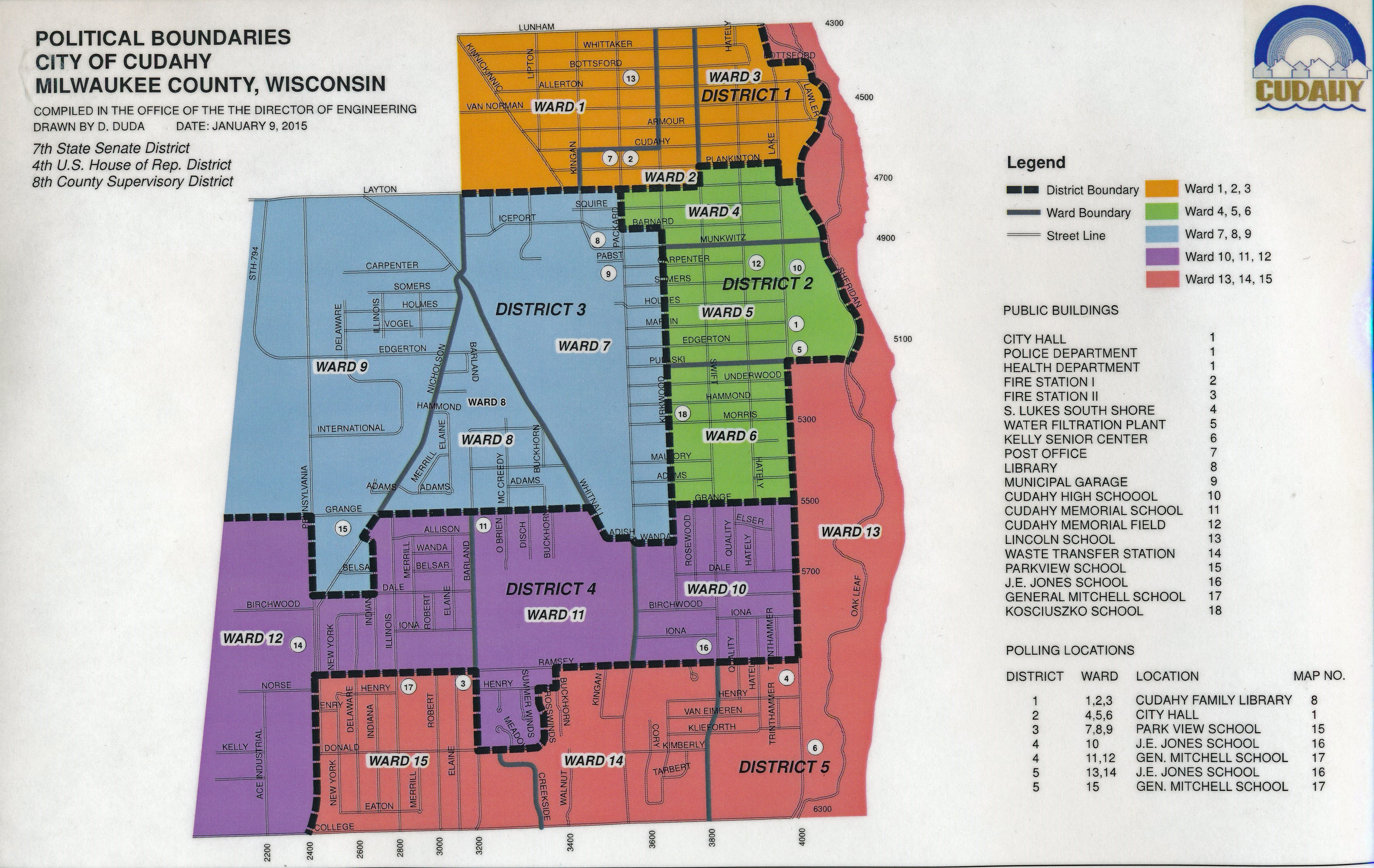 Cudahy Wisconsin Map.Elected Officials
