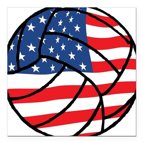 us flag volleyball square car magnet  x