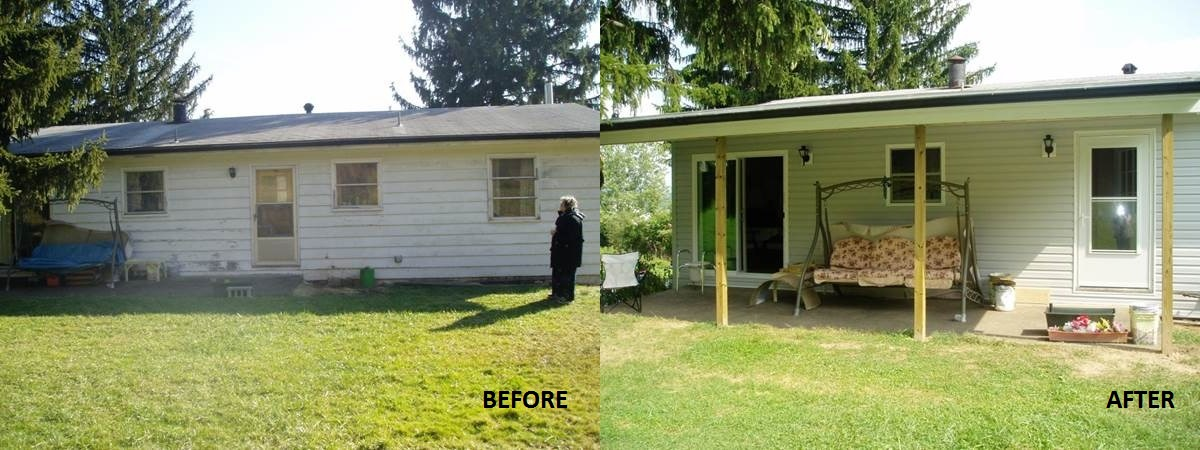 Before and After Siding and Porch