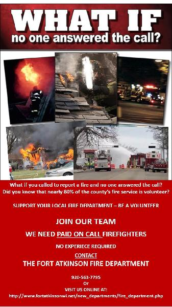 the fort atkinson fire department is recruiting paid on