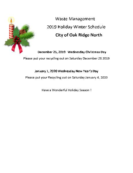 2019 Holiday Schedule WINTER