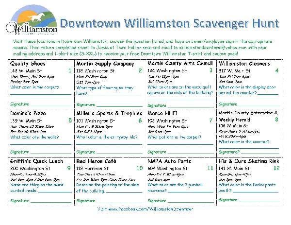 Downtown Williamston Scavenger Hunt front page