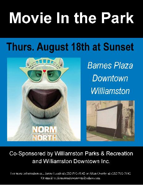 Movie In the Park flyer August 2016