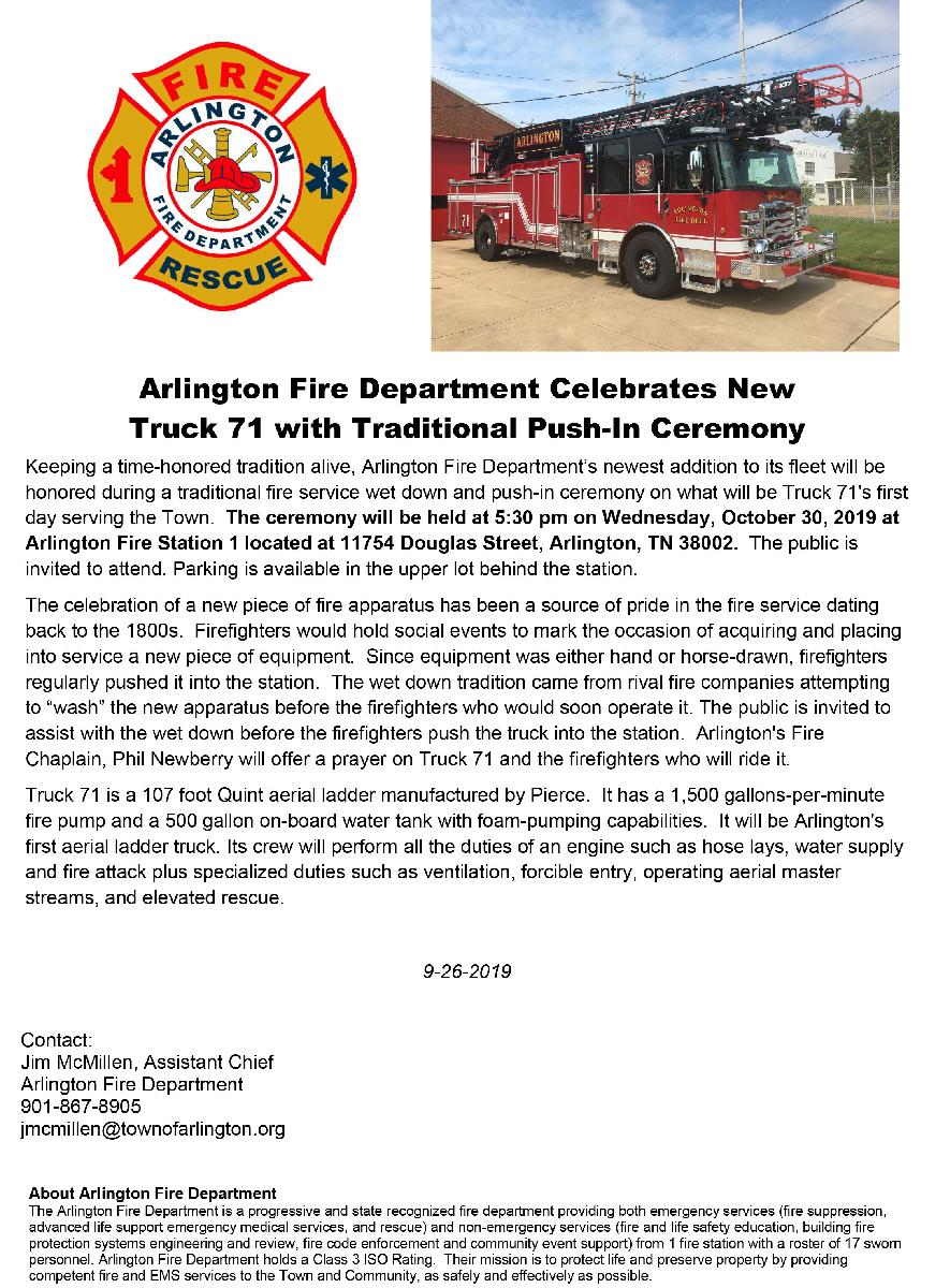 AFD Truck 71 push in ceremony announcement 10-30-19