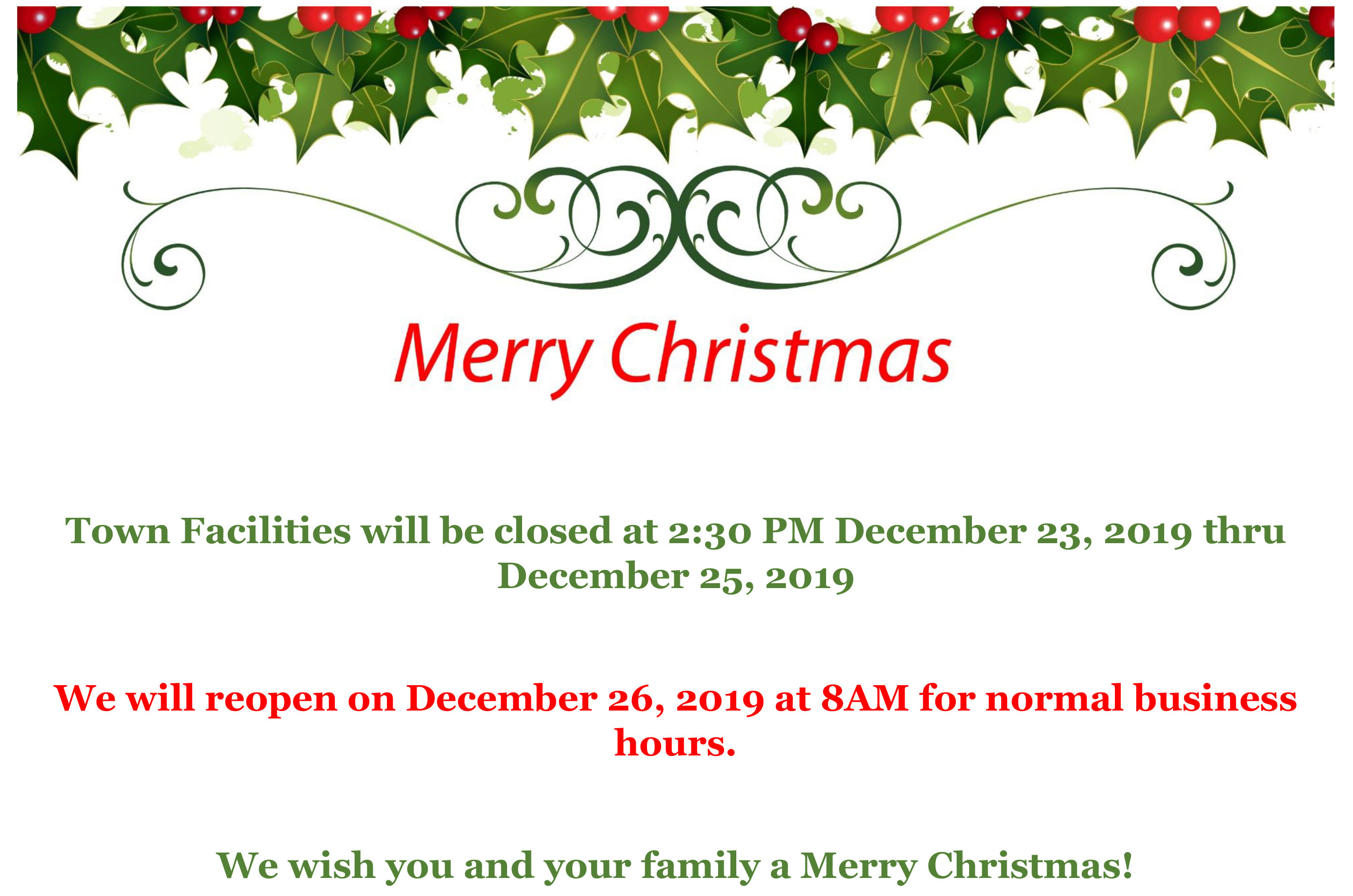 Town Hall and facilities will be closed at 2