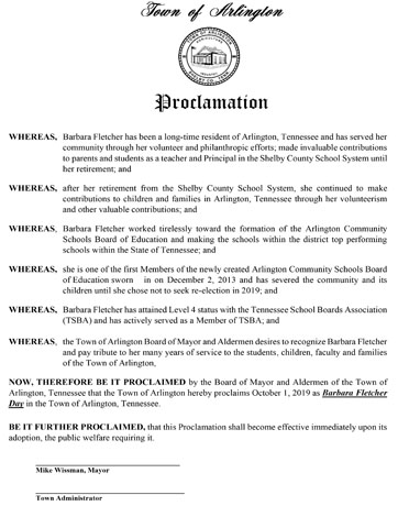 proclamation of barbara fletcher