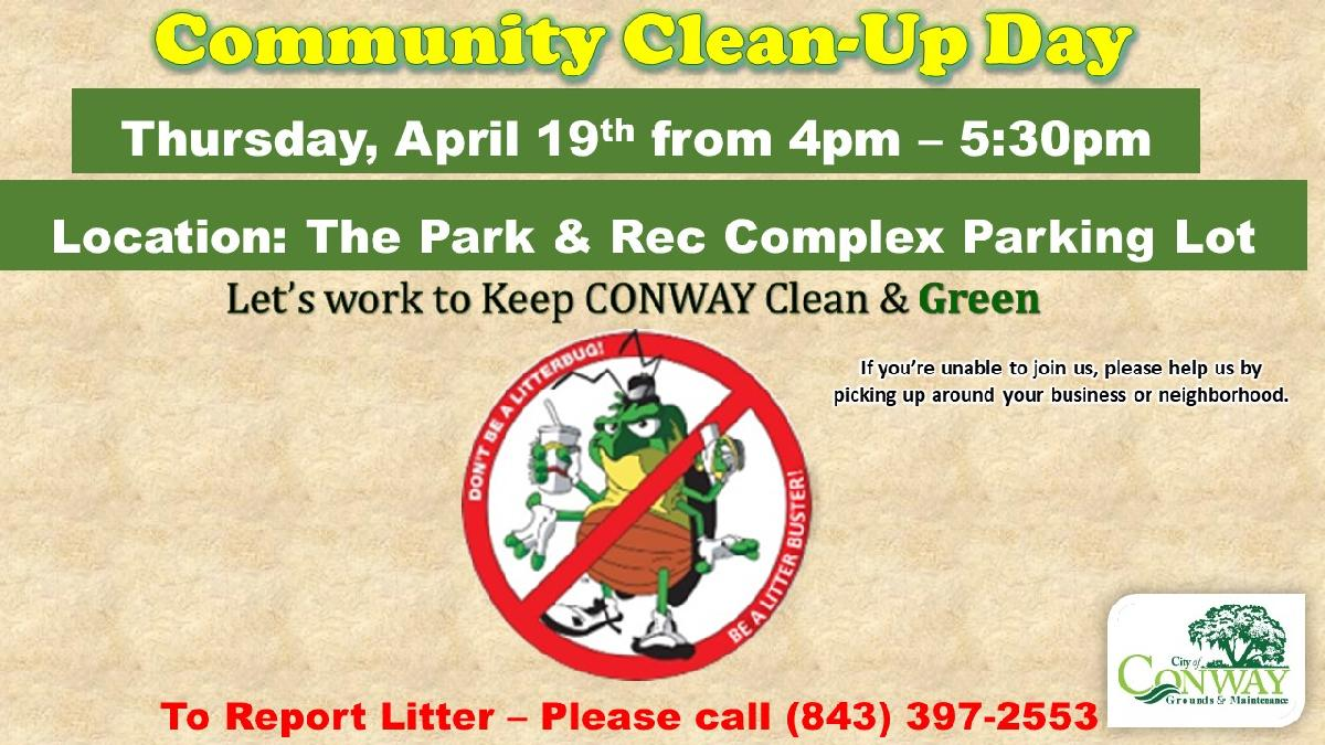 2018 MONTHLY Community Clean Up Day ANNOUNMENT