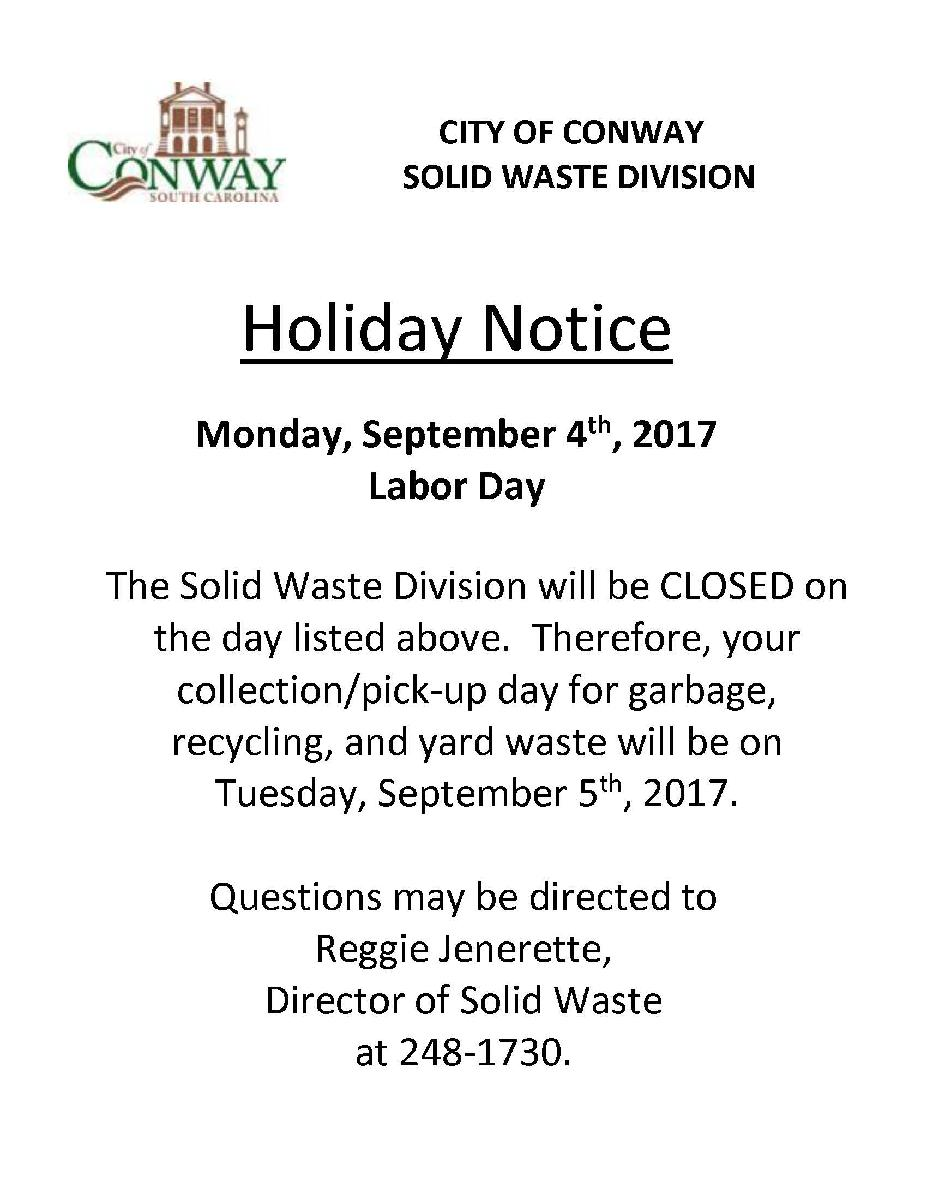 Holiday Notices for SW Labor day 2017