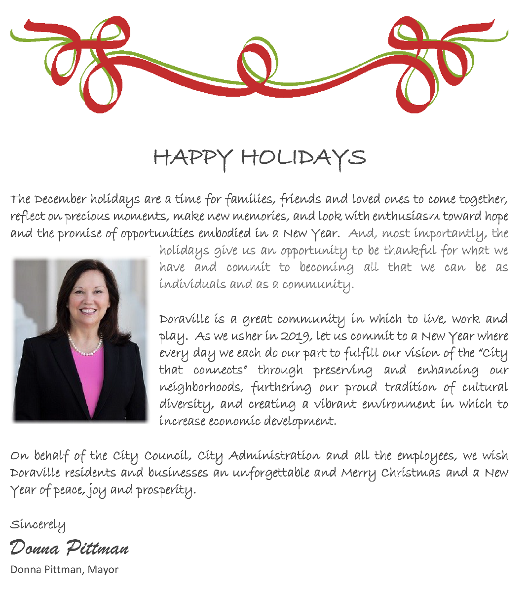 2018 Mayor's holiday message