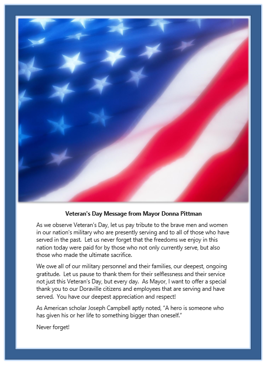 2018 Veterans Day Message from Mayor