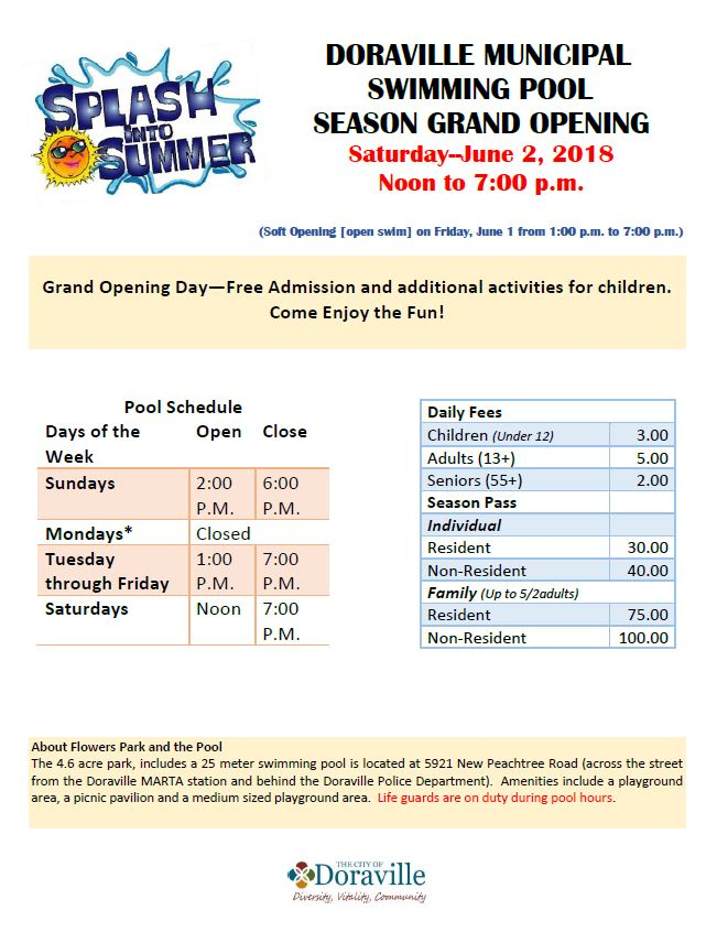 Pool Opening Announcement Flyer