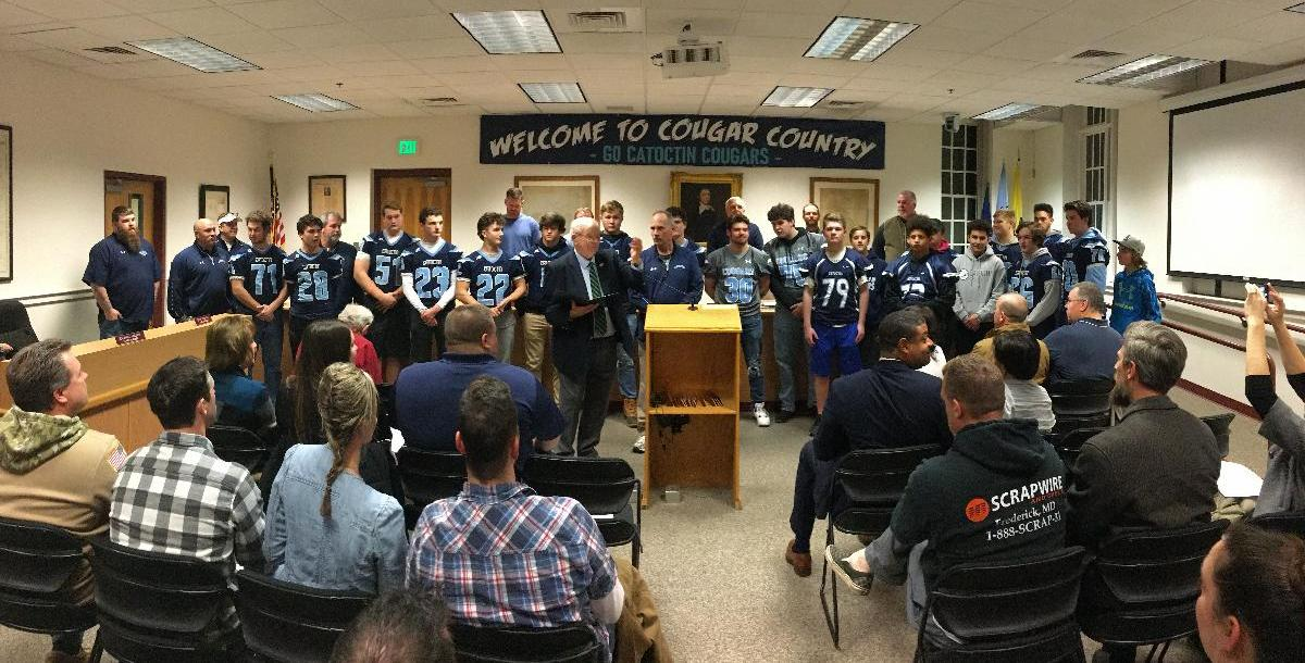 2019-2020 Catoctin Cougars Football Team being honored by Mayor Briggs for winning the state championship