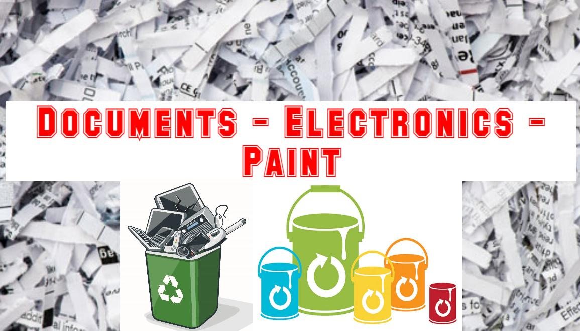 Photo of shredded documents and recycled electronics