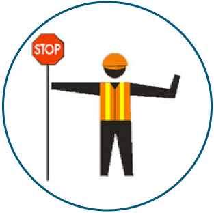 image of traffic flagger holding stop sign