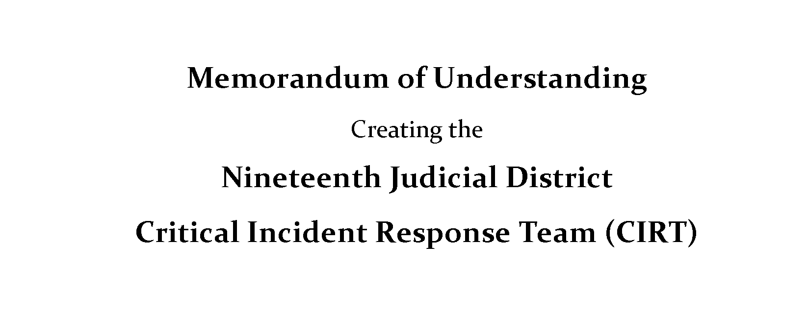 memorandum Of Understanding Critical Incident Response Team