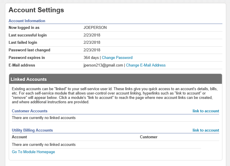 account settings page example