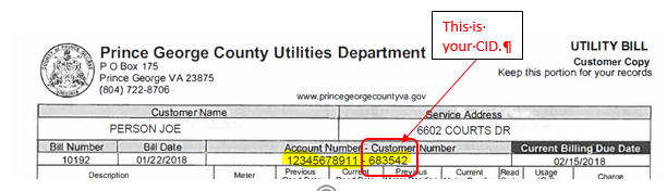 bill example with customer number (cid) circled