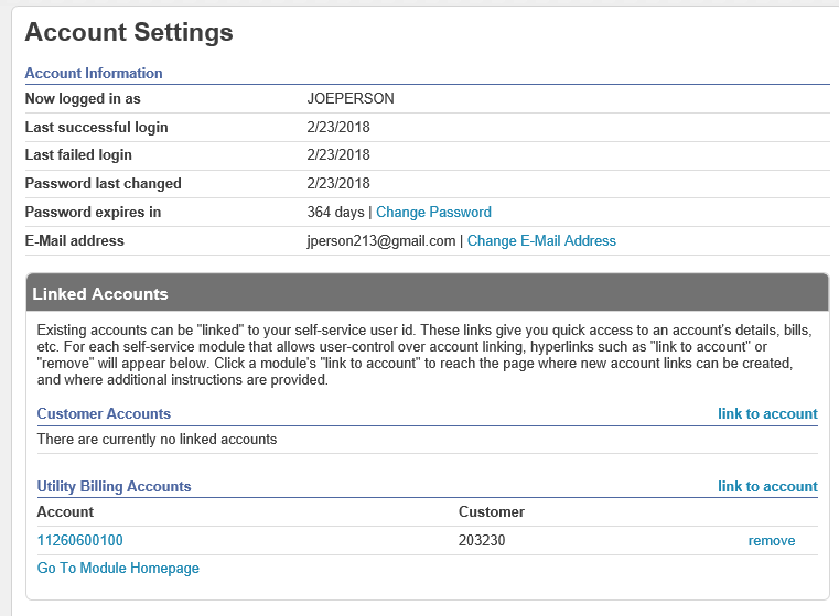 account settings showing the account linked to the online bill pay account