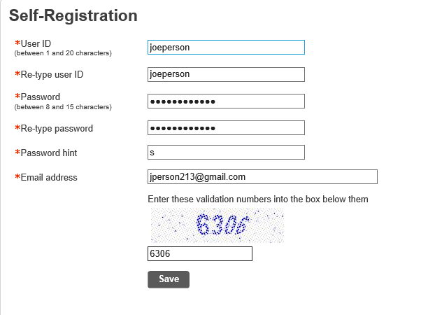 self registration page example