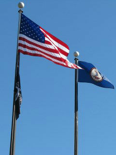 united state flag and state of virginia flag flying