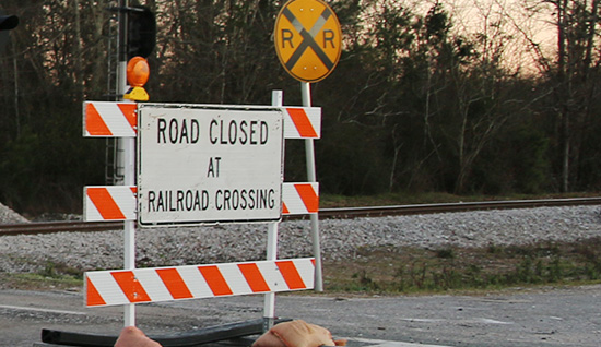 Railroad crosing road closed