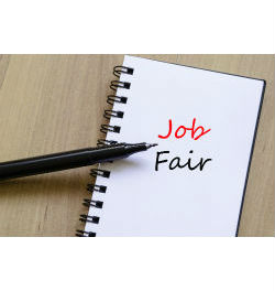 notepad with job fair written on it
