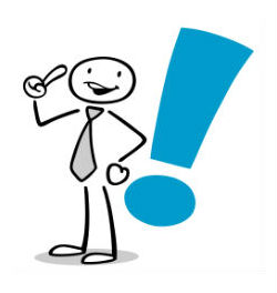 stick figure with tie and exclamation point