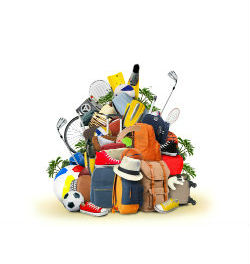 sports equipment in a pile