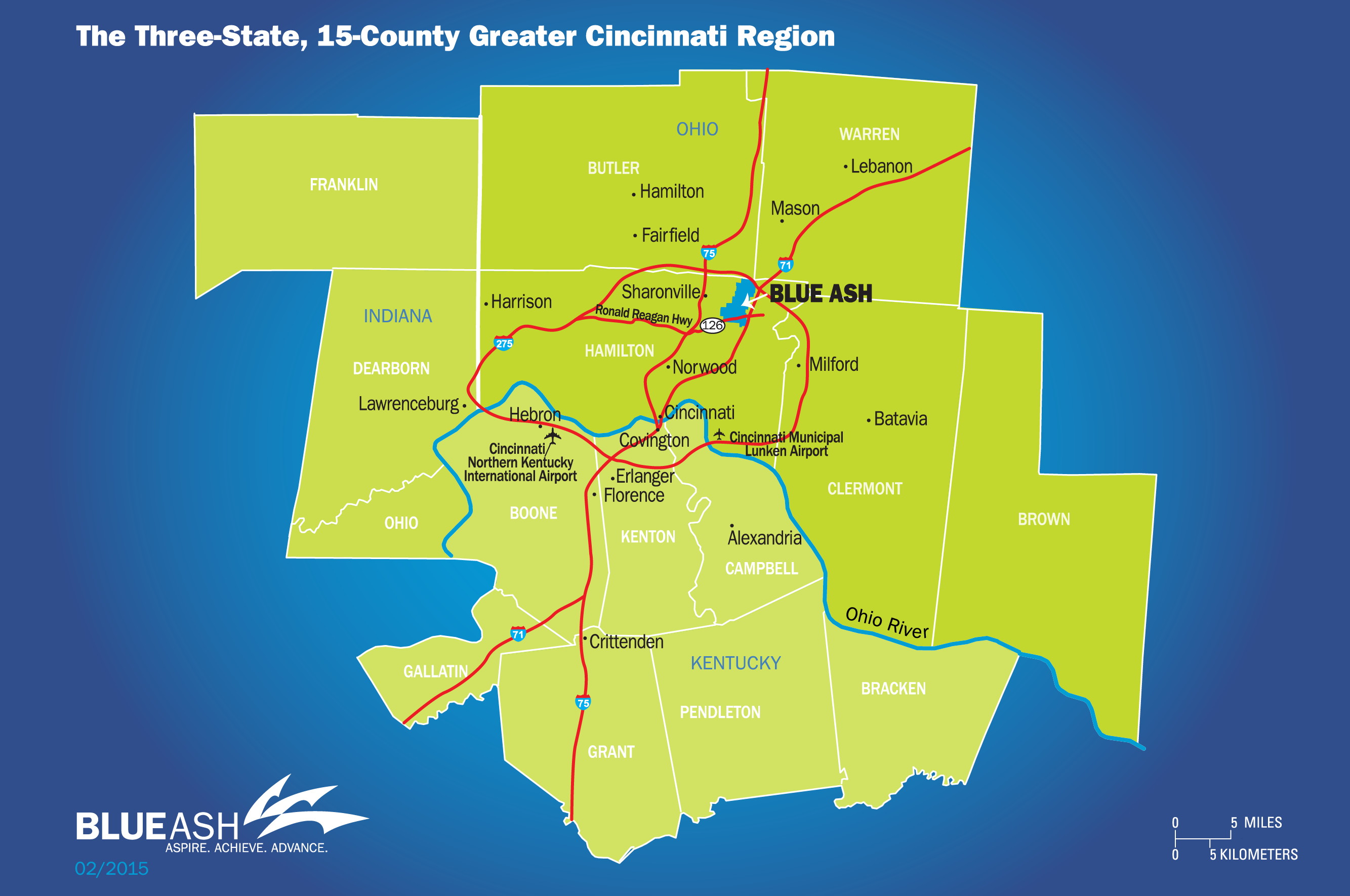 Blue Ash Map with surrounding counties