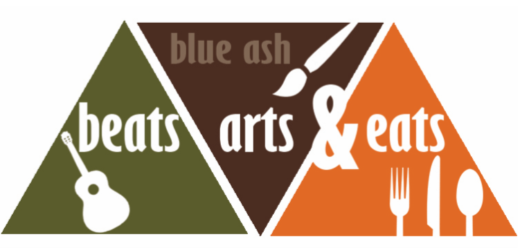Beats, Arts and Eats logo featuring a guitar a paint brush and utenils