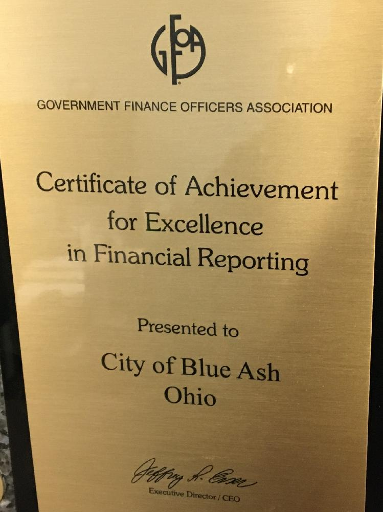 Excellence in Financial Reporting GFOA award