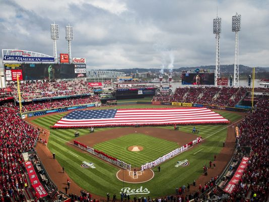 large american flag on the field at Great American Ballpark