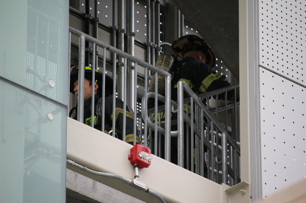 firefighters on stairs