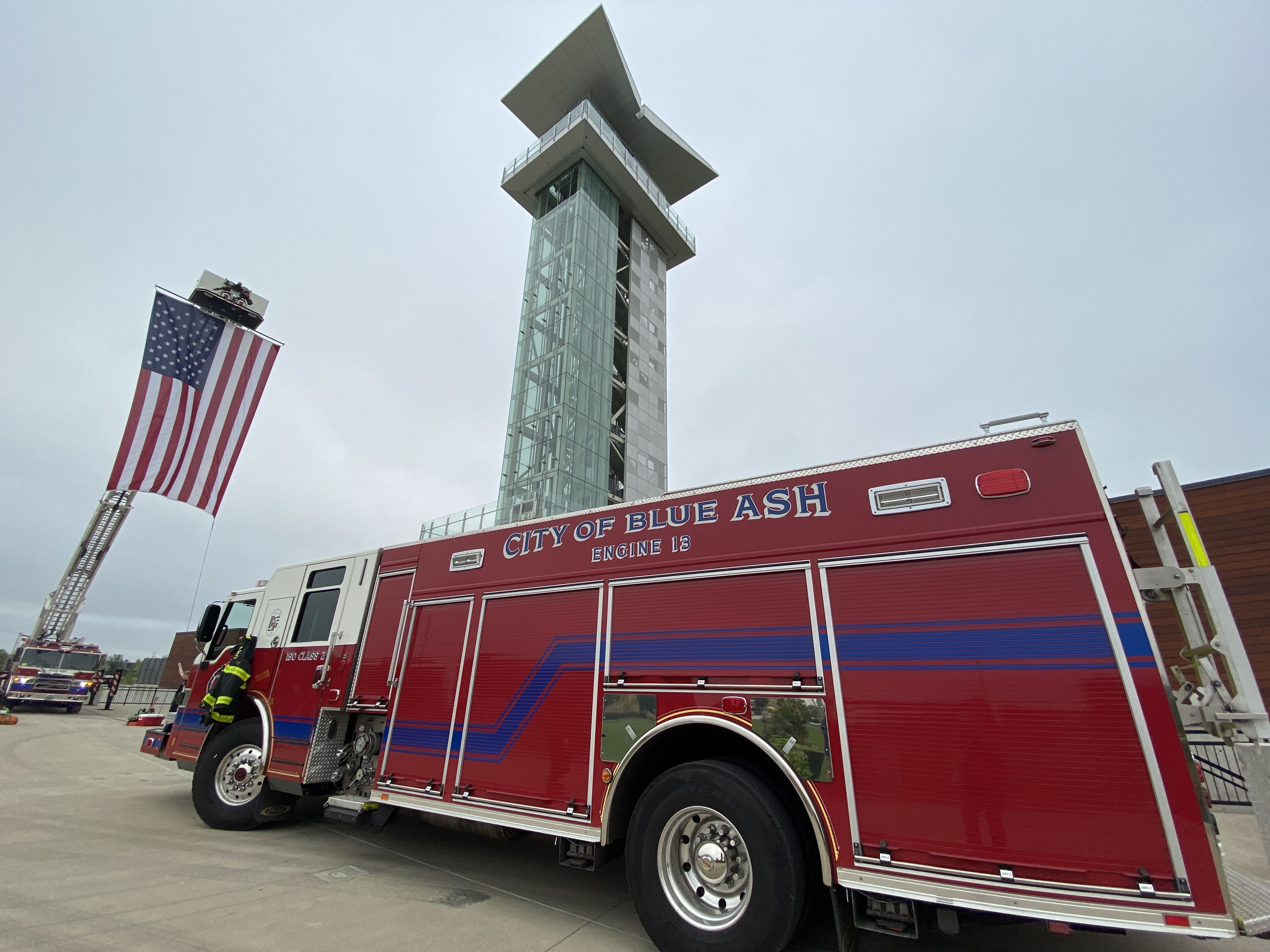 fire truck flag and tower