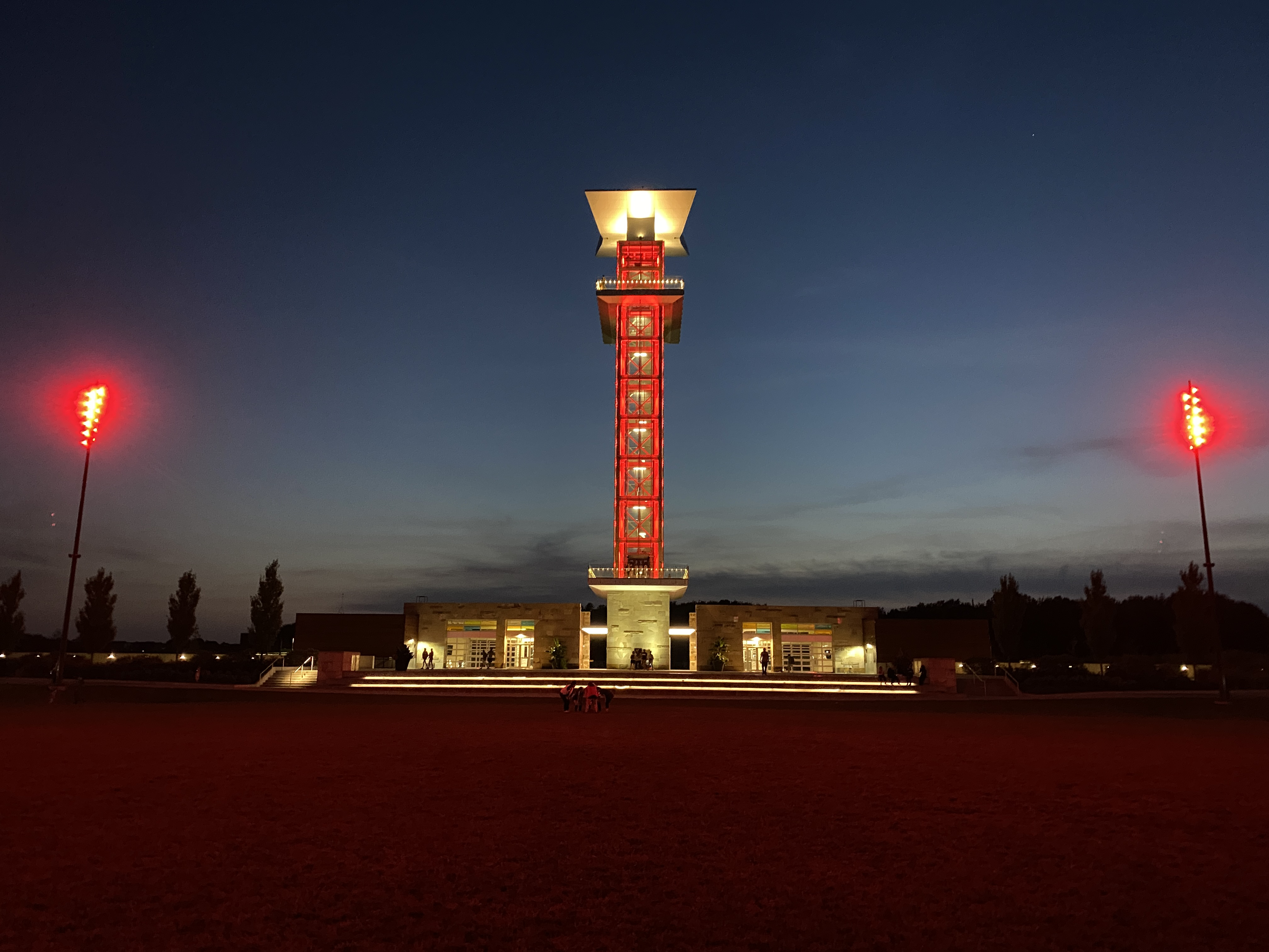 Observation Tower glows red