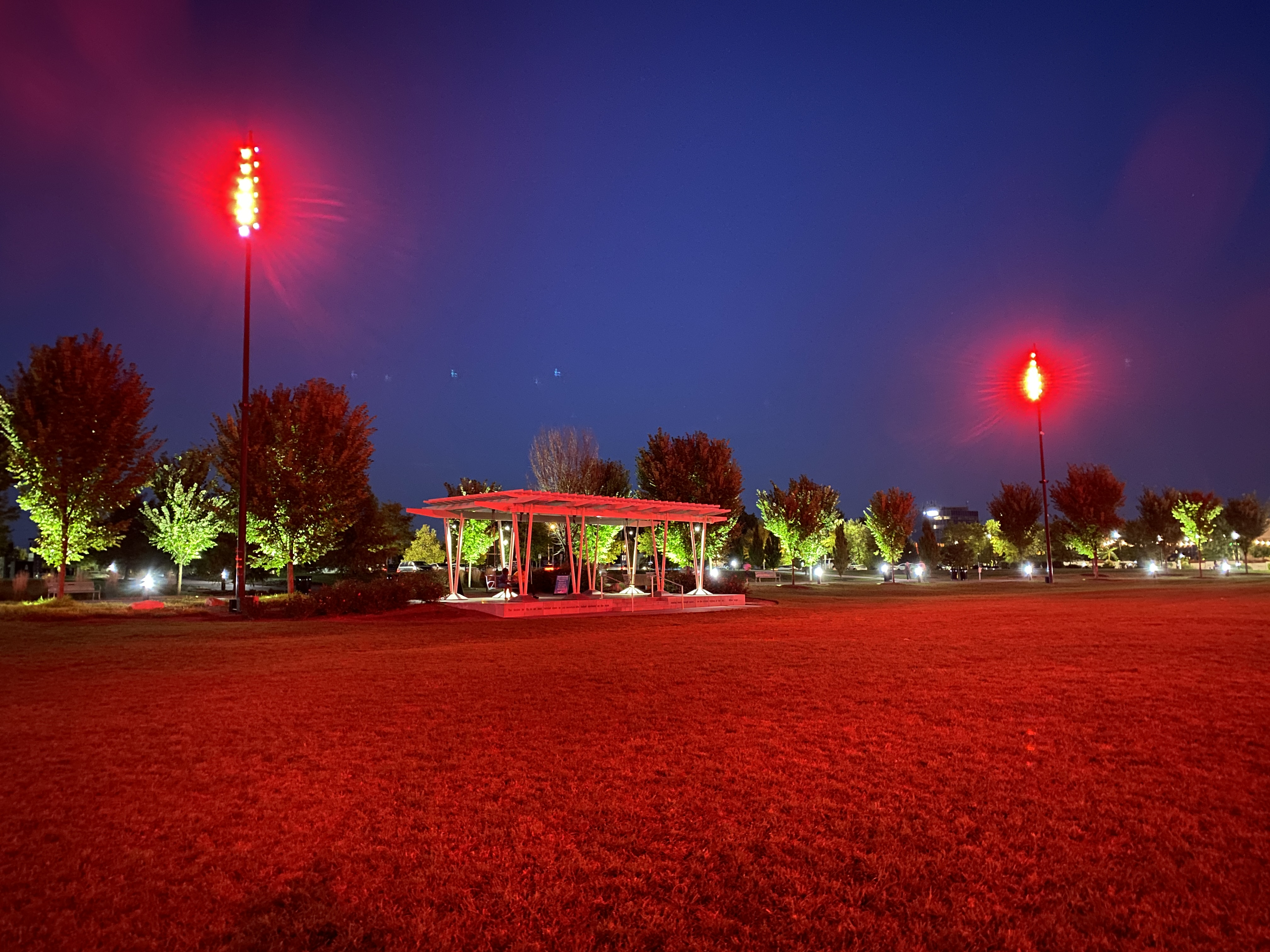 Summit Park glows red