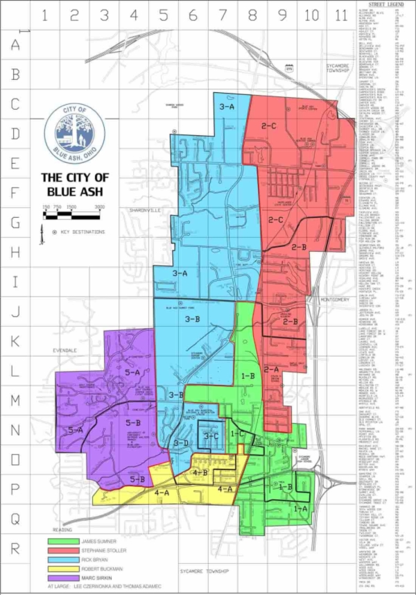 Map of Wards in the City of Blue Ash