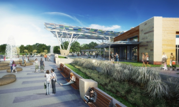 Blue Ash Summit Park Phase 2 Rendering Glass Canopy and Community Building
