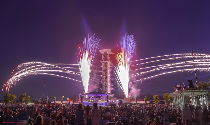 The Summit Park observation tower surrounded by fireworks