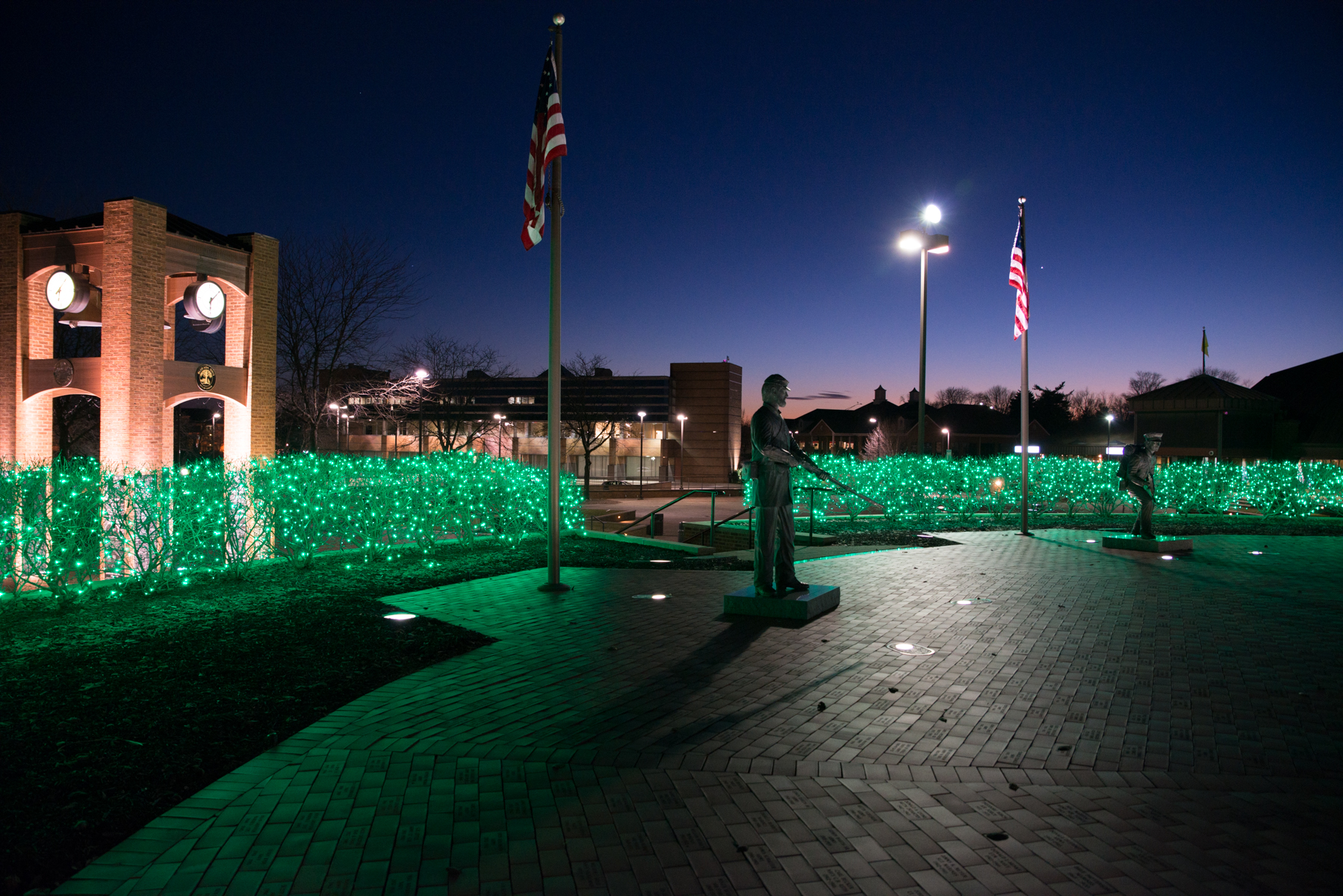 Blue Ash Veterans Memorial at Night