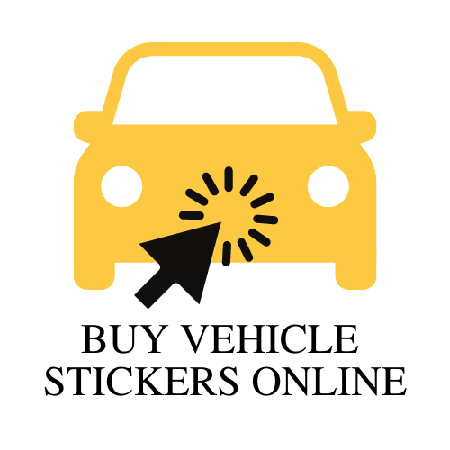vehicle sticker button