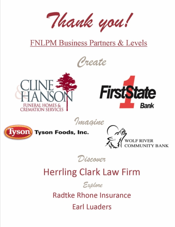 Thank you to the FNLPM Business Partners for sponsoring the school tours program