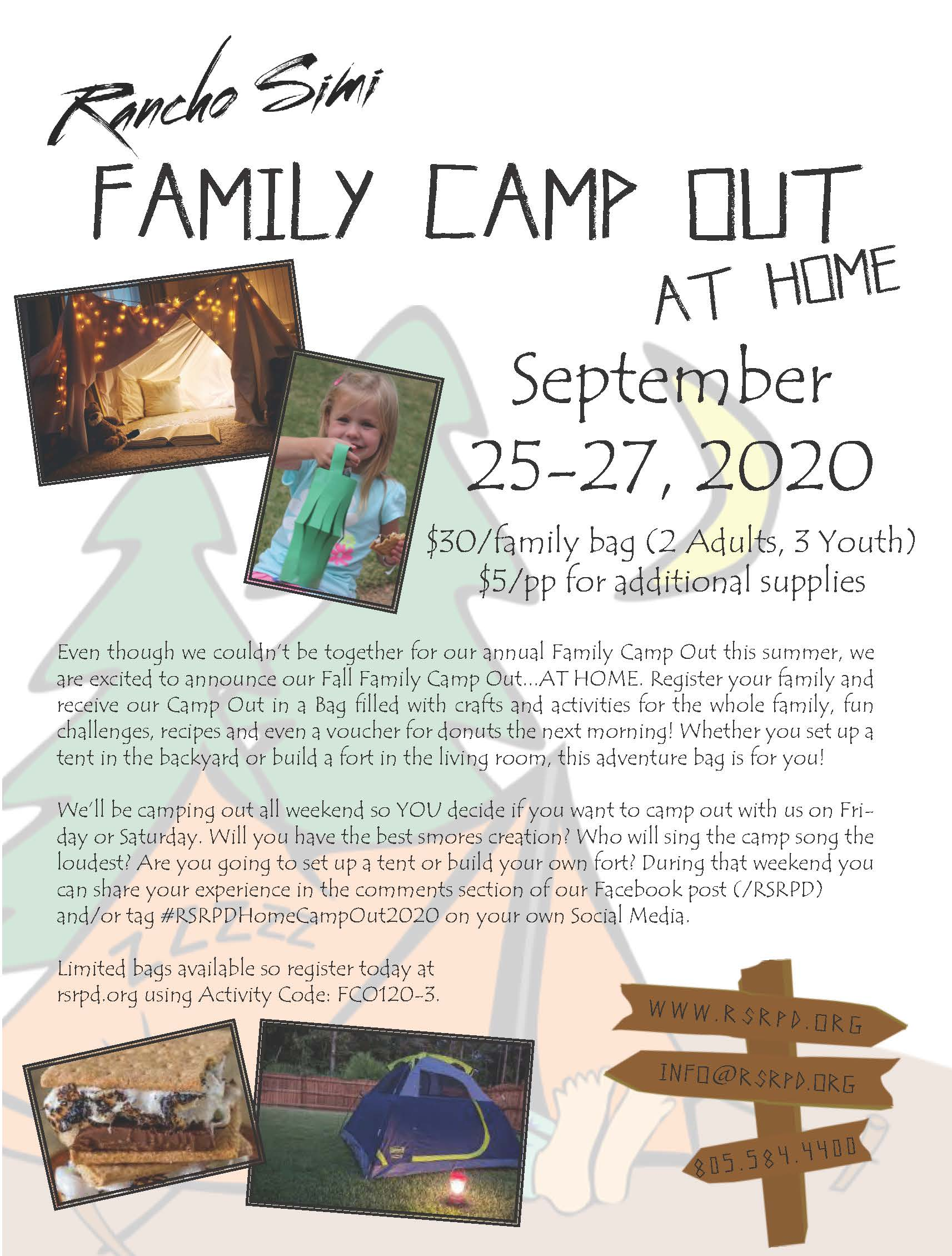 Family Camp Out 2020 Flyer