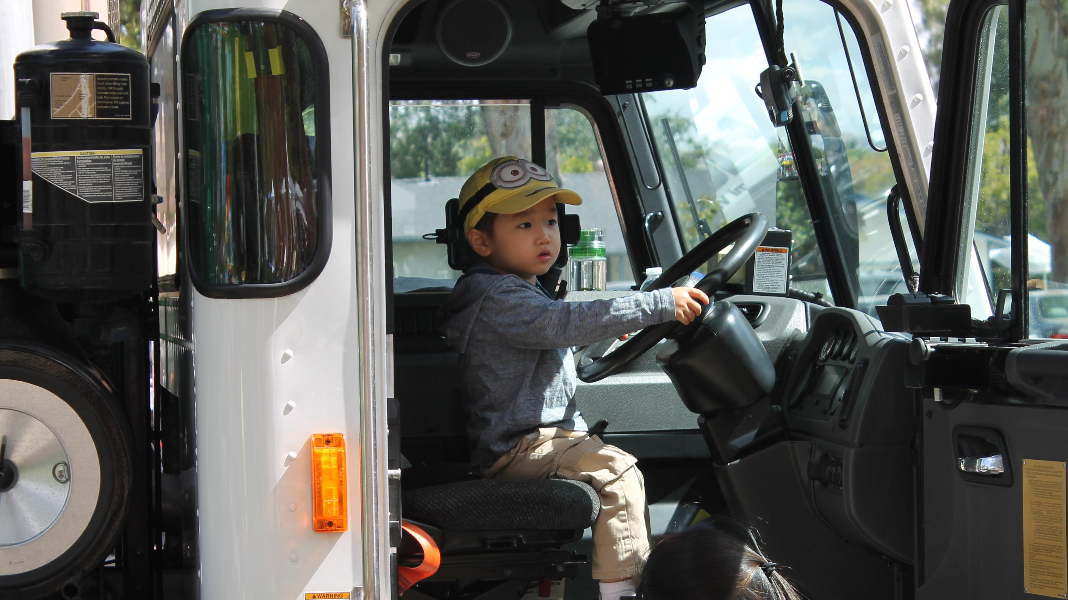 Little boy in truck