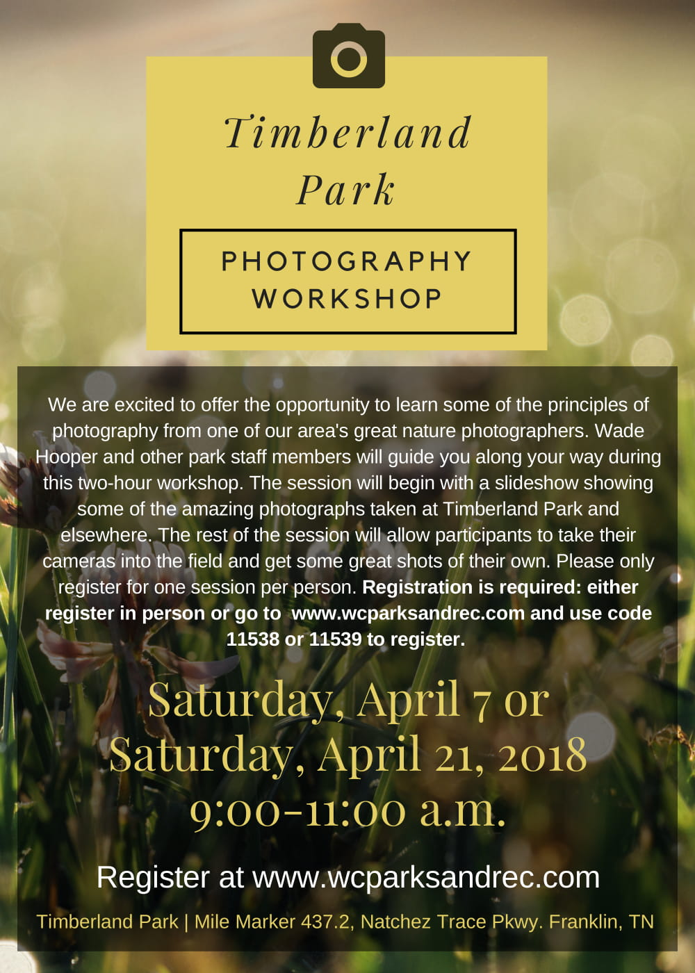 Timberland Park Photography Workshops