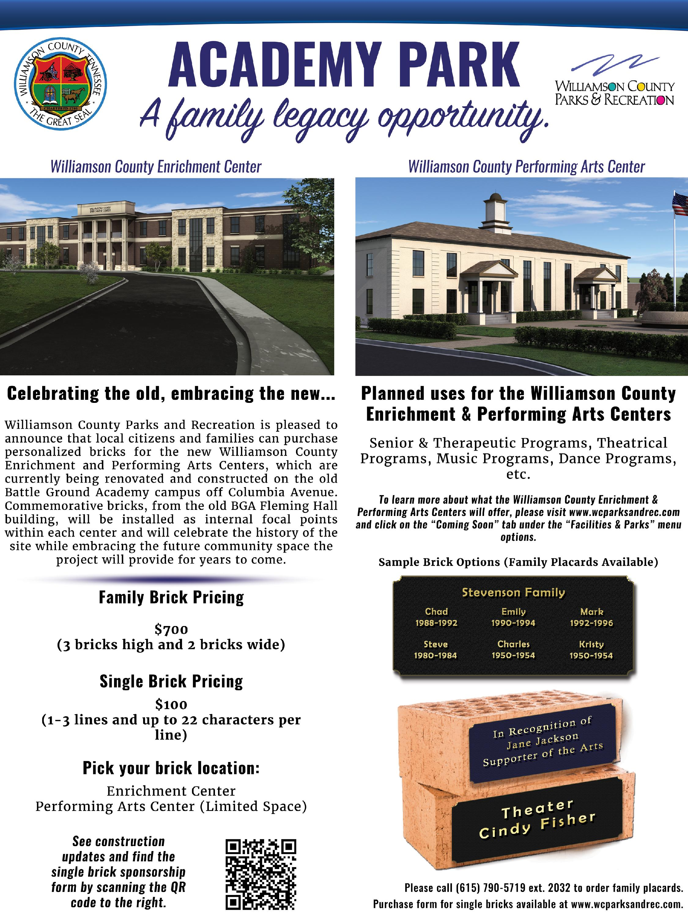 Academy Part Legacy Bricks sponsorship brochure